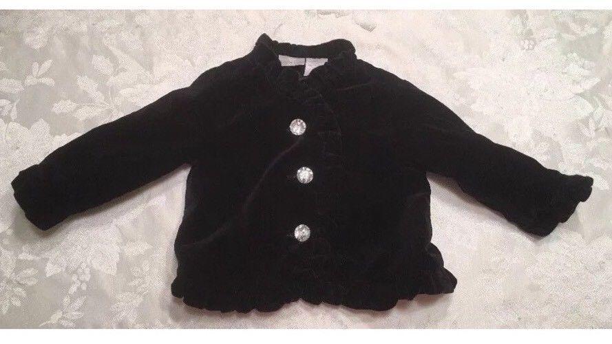 f59b6d07c Koala Kids Baby Girls Size 12 Month Black Coat Winter Clear Buttons ...