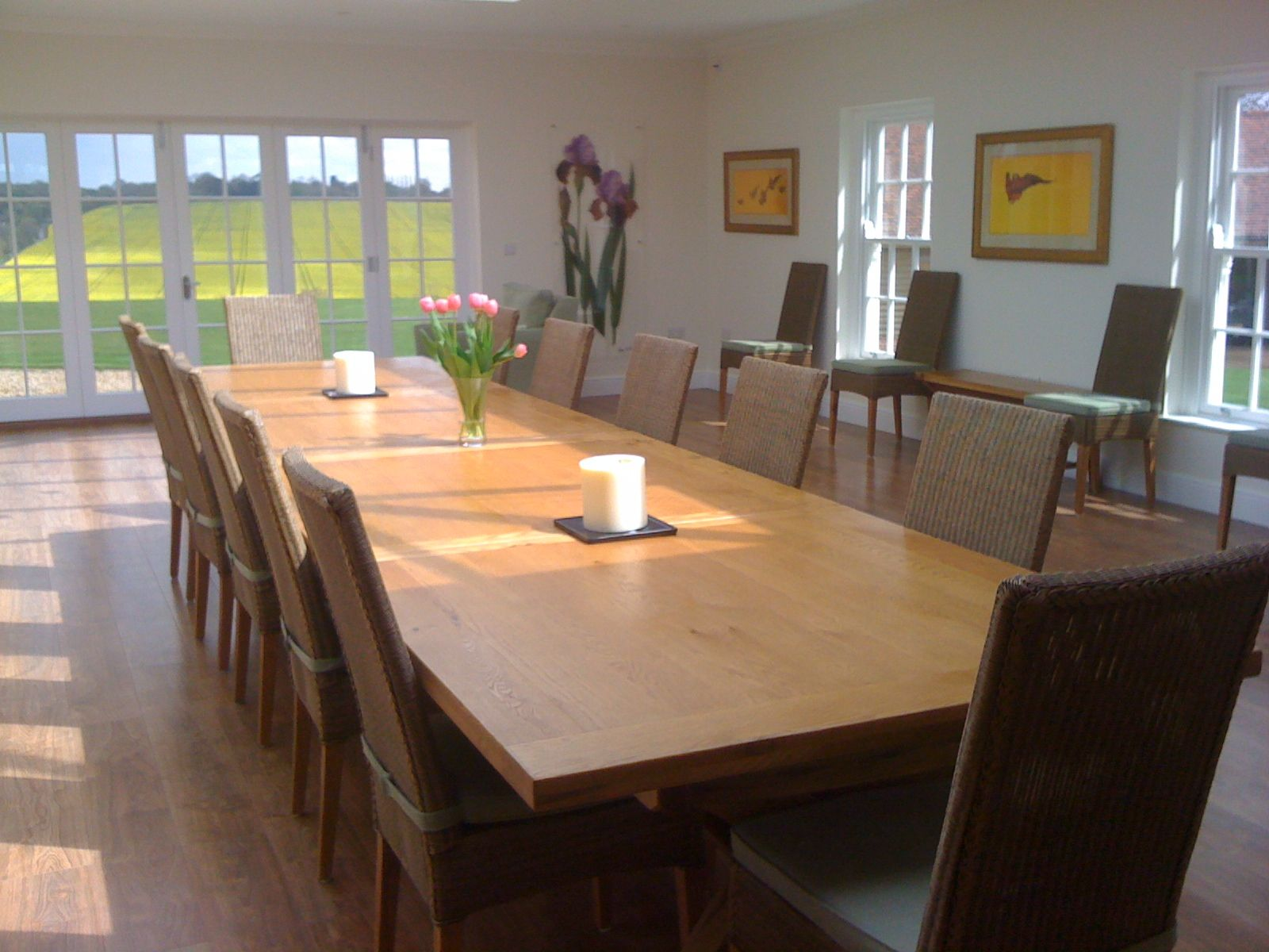 Country Oak 3 4m Cross Leg Double Extending Large Dining Table