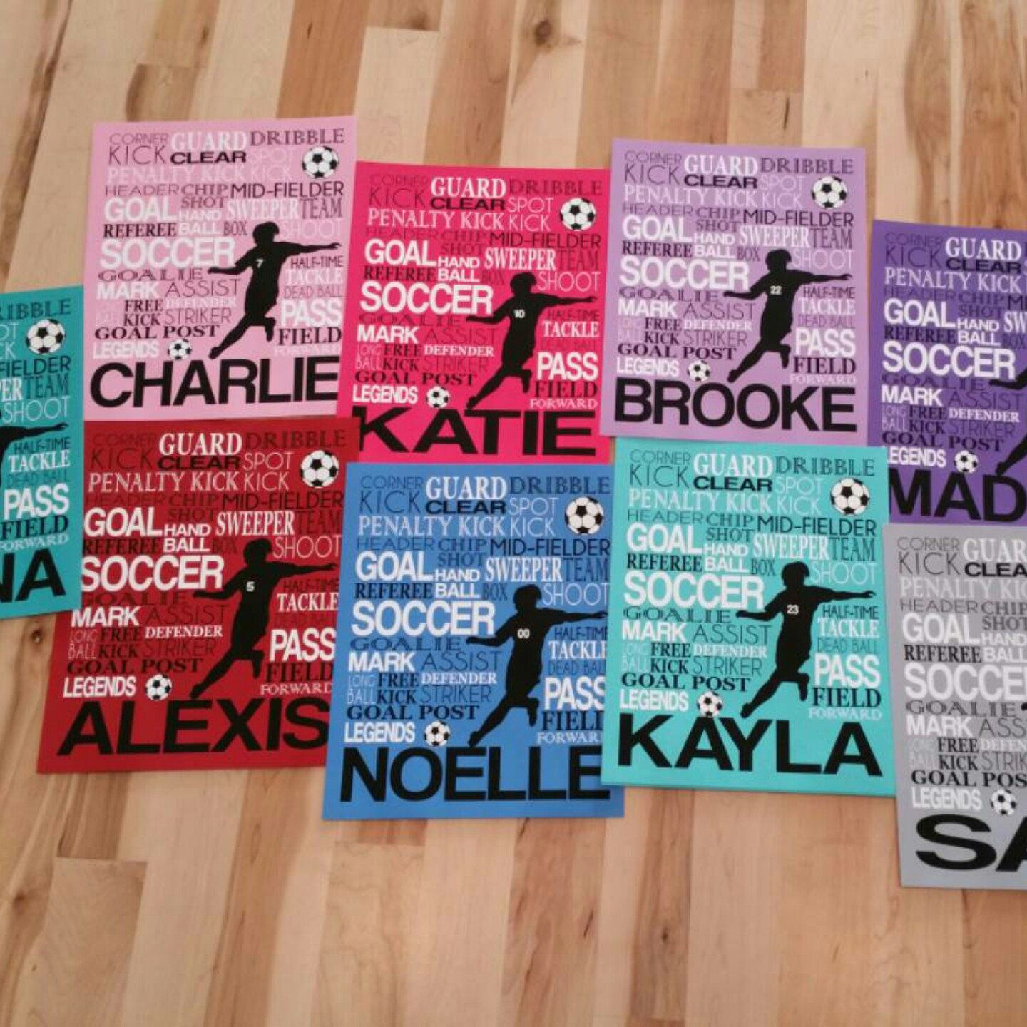 Girl's Soccer Typography Art. Customize name and colors for a great gift for any soccer player or coach! Shown in aqua, pink, red, blue, grey, purple & turquoise by twenty3stars.com