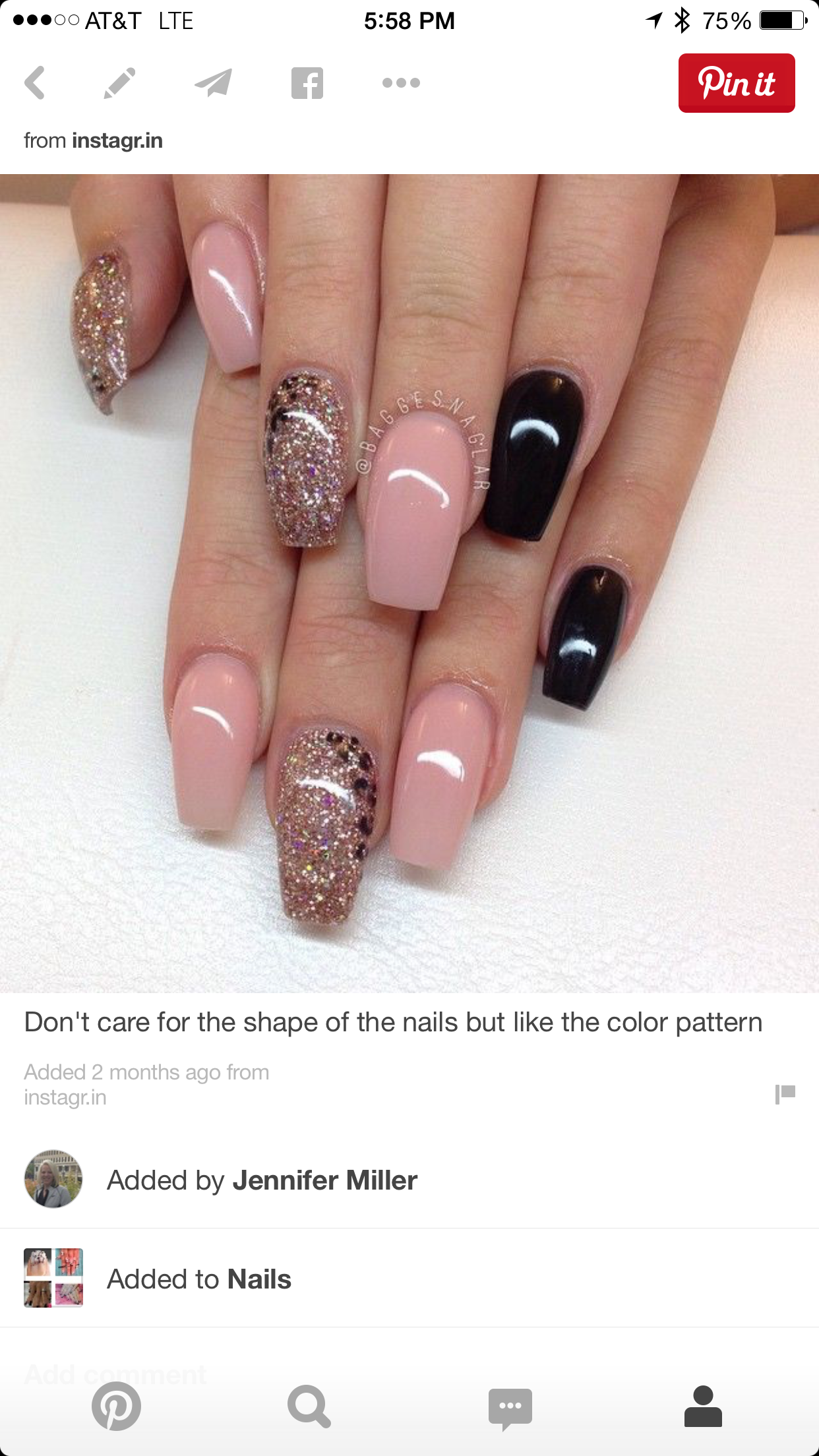 Gold glitter nude coffin nails | Nails | Pinterest | Coffin nails ...