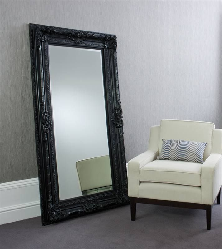 Black floor mirror valois black mirror floor standing for Black framed floor length mirror