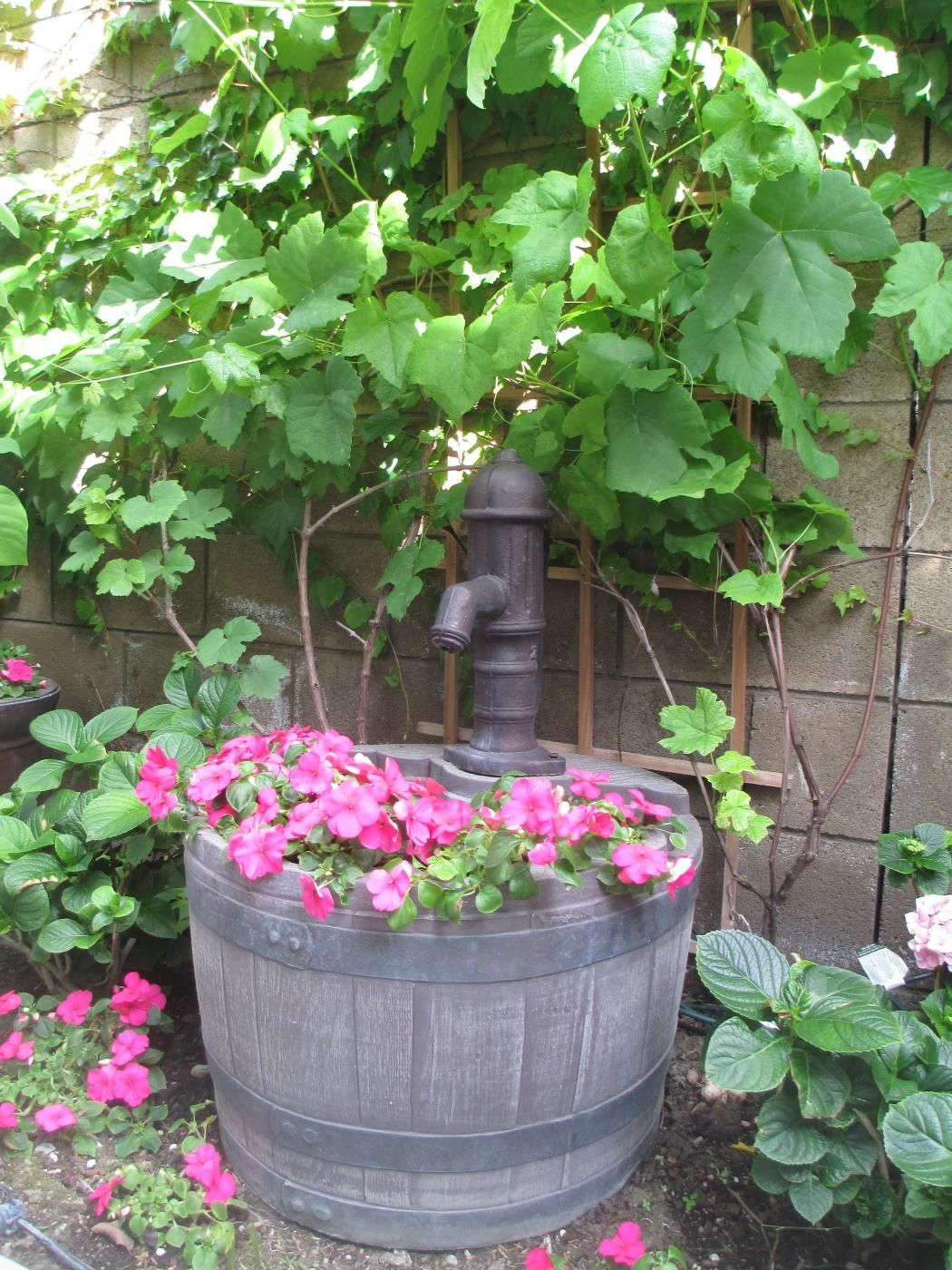 Garden Decor with Whiskey Barrel Planter Water Fountain | Whiskey ...