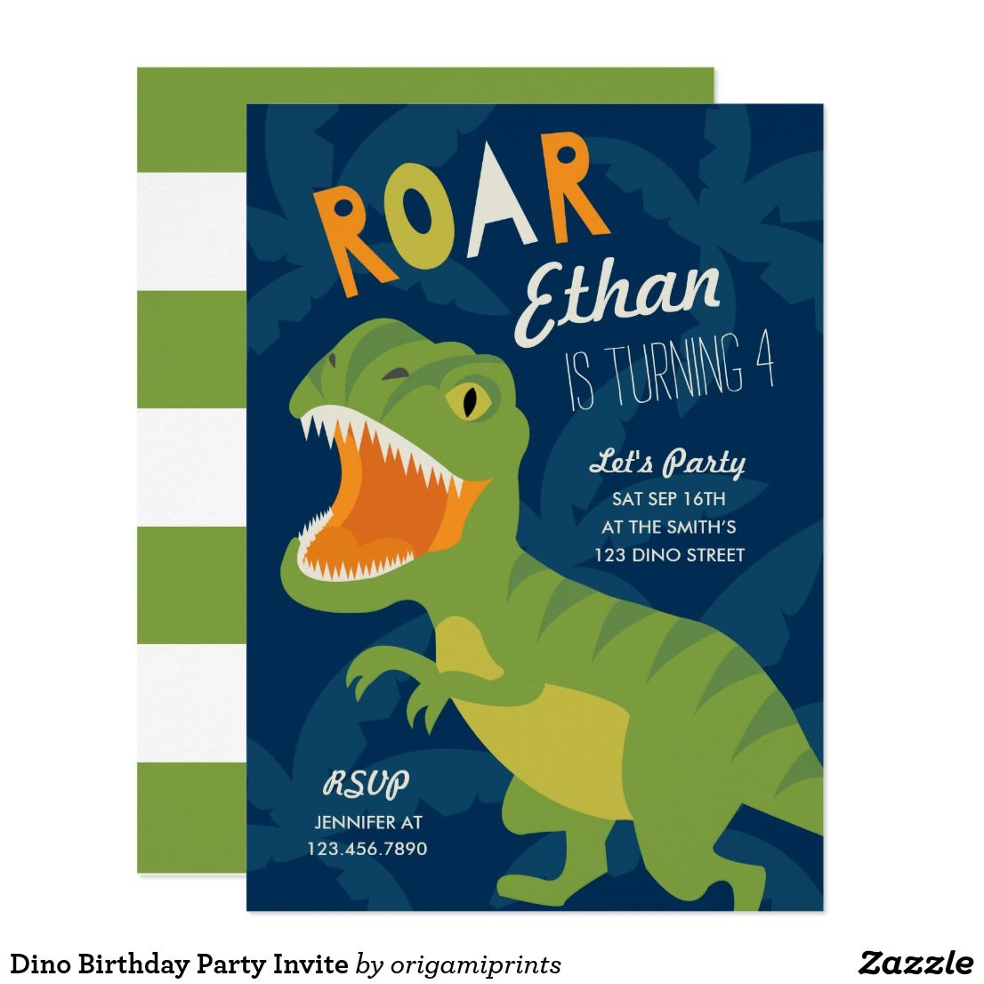 Dino Birthday Party Invite Colorful Dinosaur Themed Invitation That Can Be Personalized With Your Text