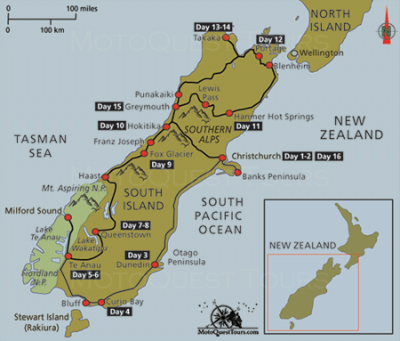 Map of New Zealand South Island Motorcycle Adventure Tour Click