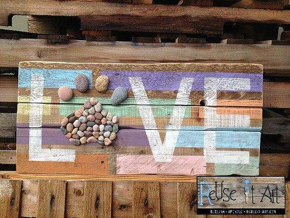 """Cartel de madera Paw Print and Love apenada de 30 """"x 13"""" Rustic Art Pallet mascotas"""