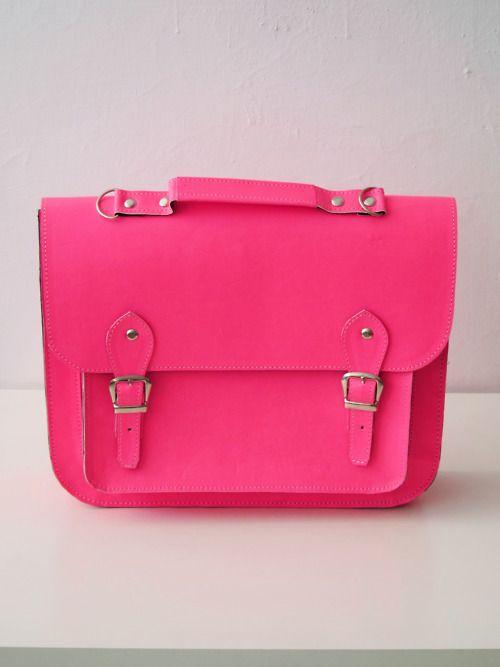 #neon #pink vegan leather large #satchel
