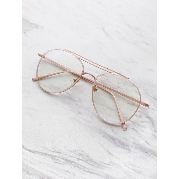 85f034f064 SheIn(sheinside) Clear Lens Aviator Glasses ( 10) ❤ liked on Polyvore  featuring accessories