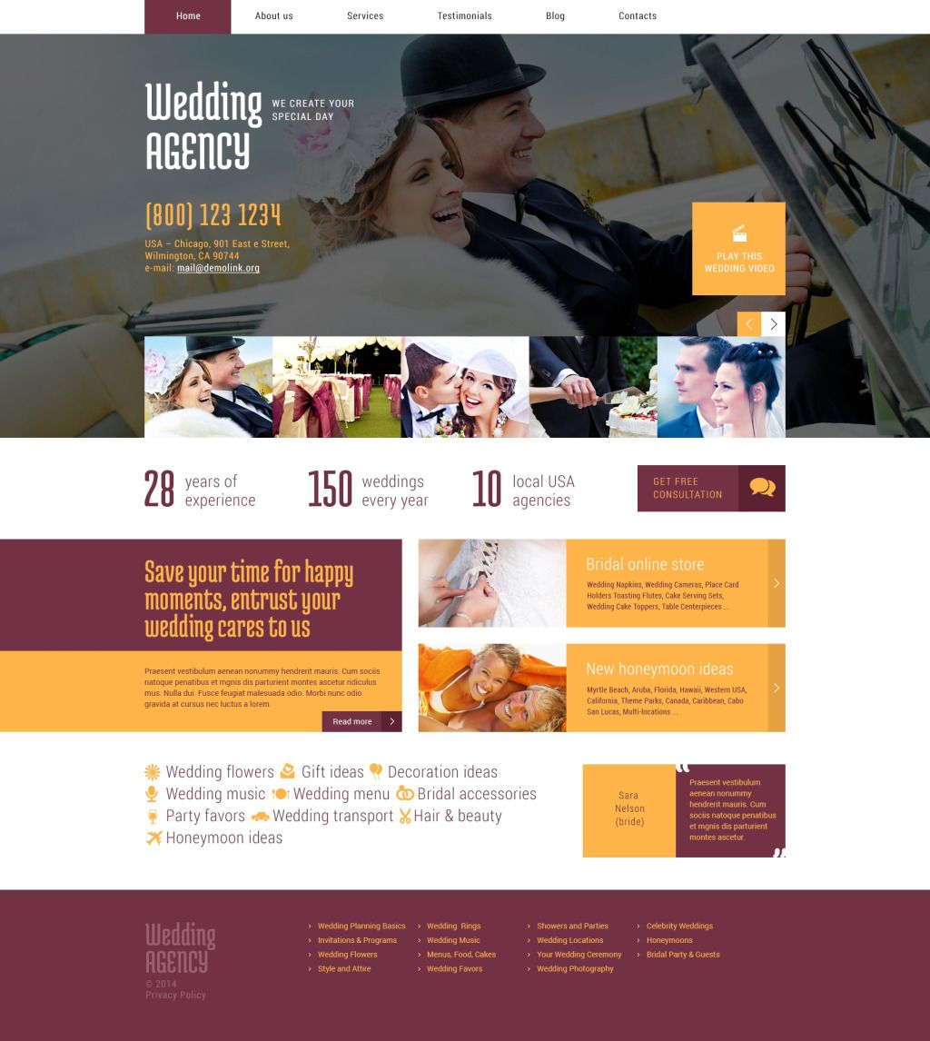 Party Planner Website Template from i.pinimg.com