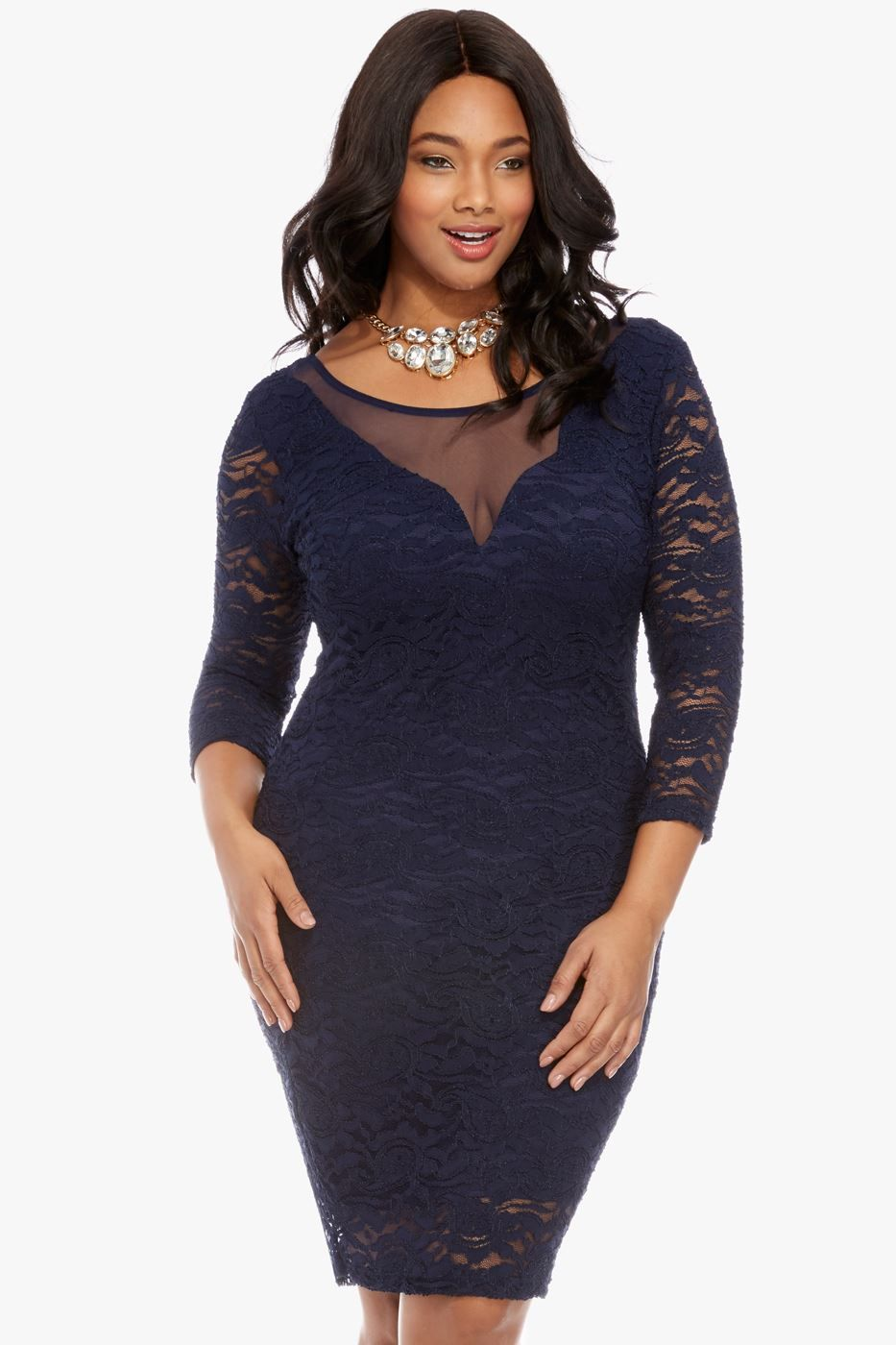 Live fashionably ever after in our lace-and-mesh dress--a guaranteed ...