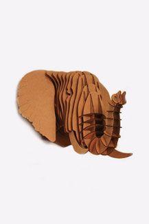 Cardboard Elephant Wall Mount #elephant #homes #interiors