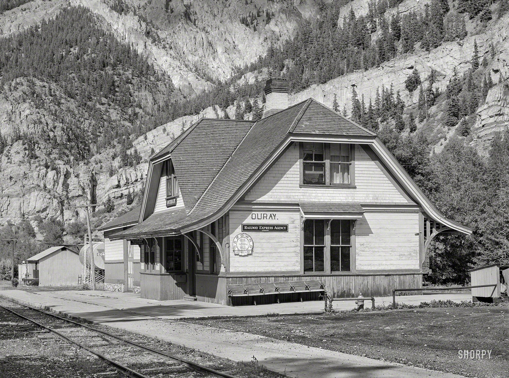 September 1940 Station Of The Denver Rio Grande Western Railroad At Ouray Colorado This Narrow Gauge Line Formerly Colorado Railroad Ouray Ouray Colorado