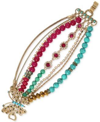 Betsey Johnson Gold-Tone Butterfly Multi-Stone and Crystal Row Bracelet | macys.com
