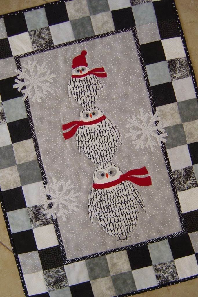 Wintry Owls From Trouble Boo Designs Wall Hanging Pattern