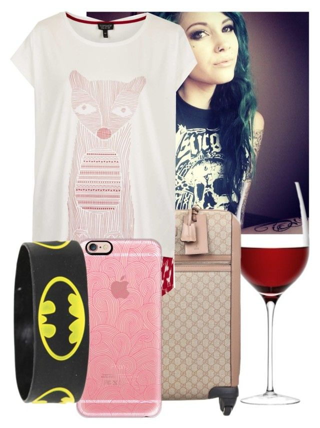 """""""Packing in my PJ's -Sara"""" by nikkikaren ❤ liked on Polyvore featuring LSA International, Gucci, Topshop and Casetify"""