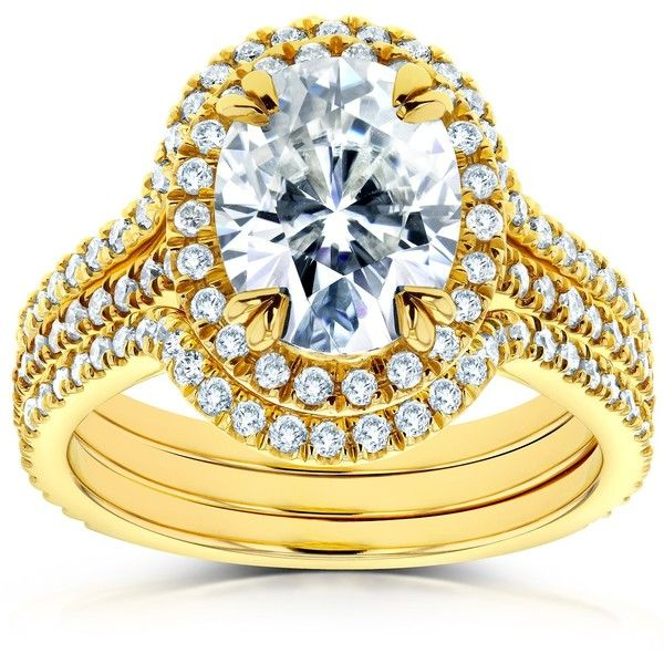 Oval Moissanite and Diamond Halo Bridal Set 2 4/5 CTW in 14k Yellow... (€2.295) ❤ liked on Polyvore featuring jewelry, rings, 14k ring, halo diamond engagement rings, engagement rings, yellow gold rings and oval wedding rings