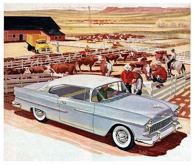 Beef… 1955 Bel Air ad illustration (с изображениями)