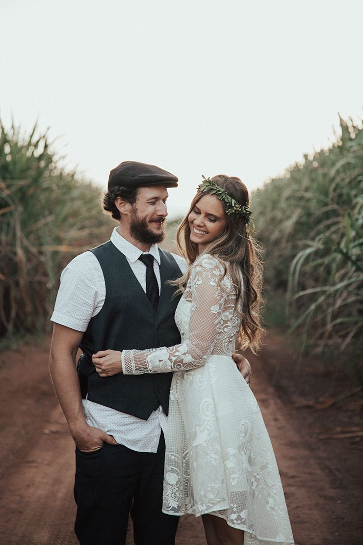 Karen and uweus diy boho wedding short lace wedding dress leaf