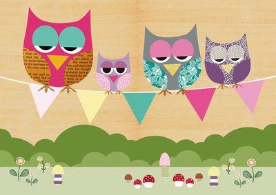 Cute owls on a flag banner Art Print | Owl canvas art, Owl ...