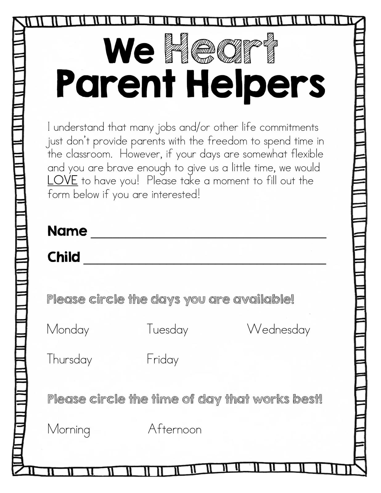parent volunteer form template mersn proforum co