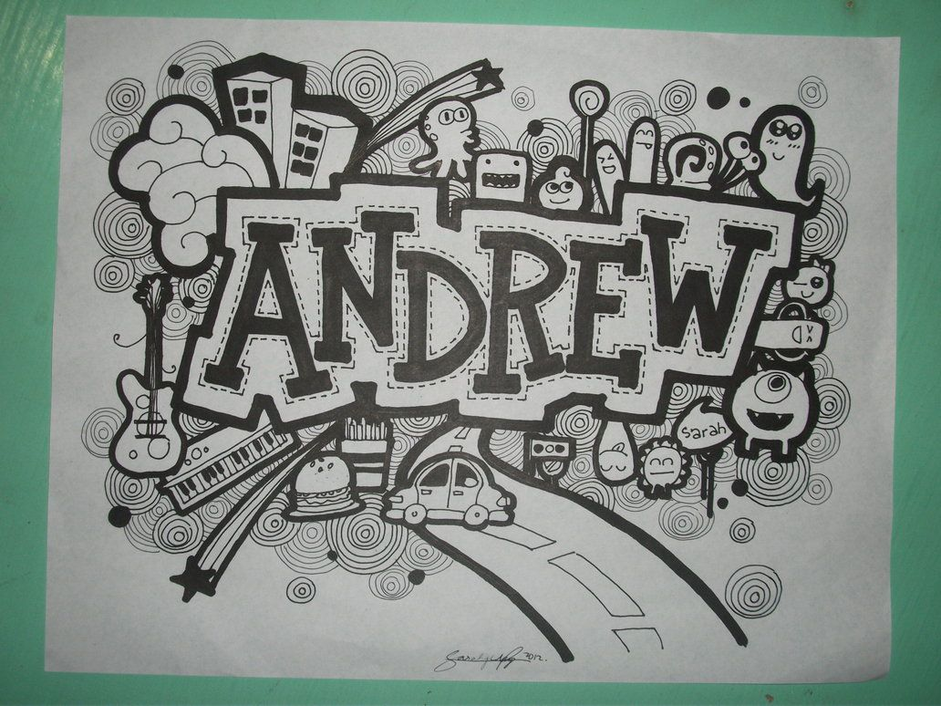 Andrew Doodle art name, Easy doodle art, Doodle art designs
