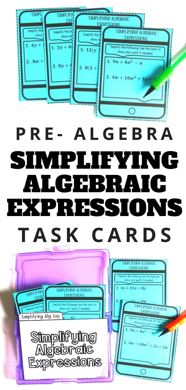Simplifying Algebraic Expressions Simplifying algebraic