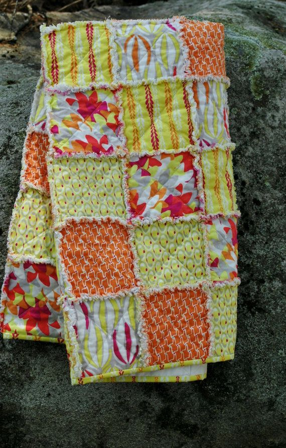 Rag Lap or Child's quilt in bright colors of by QuirkyQuilts