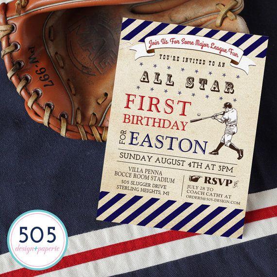 Vintage Baseball Invitation Baseball Party by 505design on Etsy