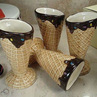 Ceramic Waffle Cone Ice Cream Cup (Set of 4) | Itens de ...