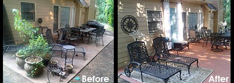 Before - After (without chaise cushions)Concrete Stain