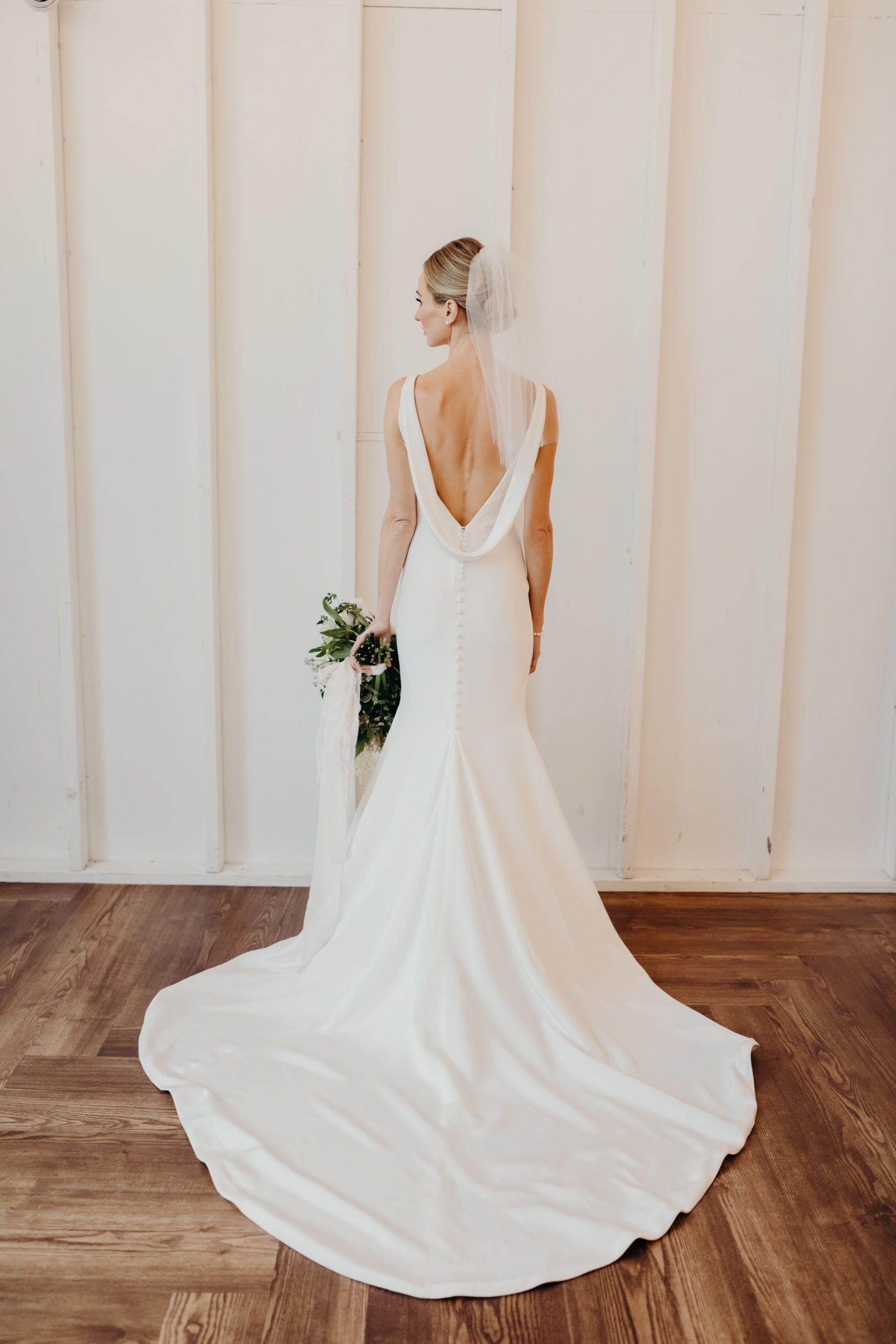 Lauren Bushnell S Draped Back Wedding Gown Wedding Dress Guide Wedding Dress Inspiration Modern Wedding Dress [ 2700 x 1800 Pixel ]