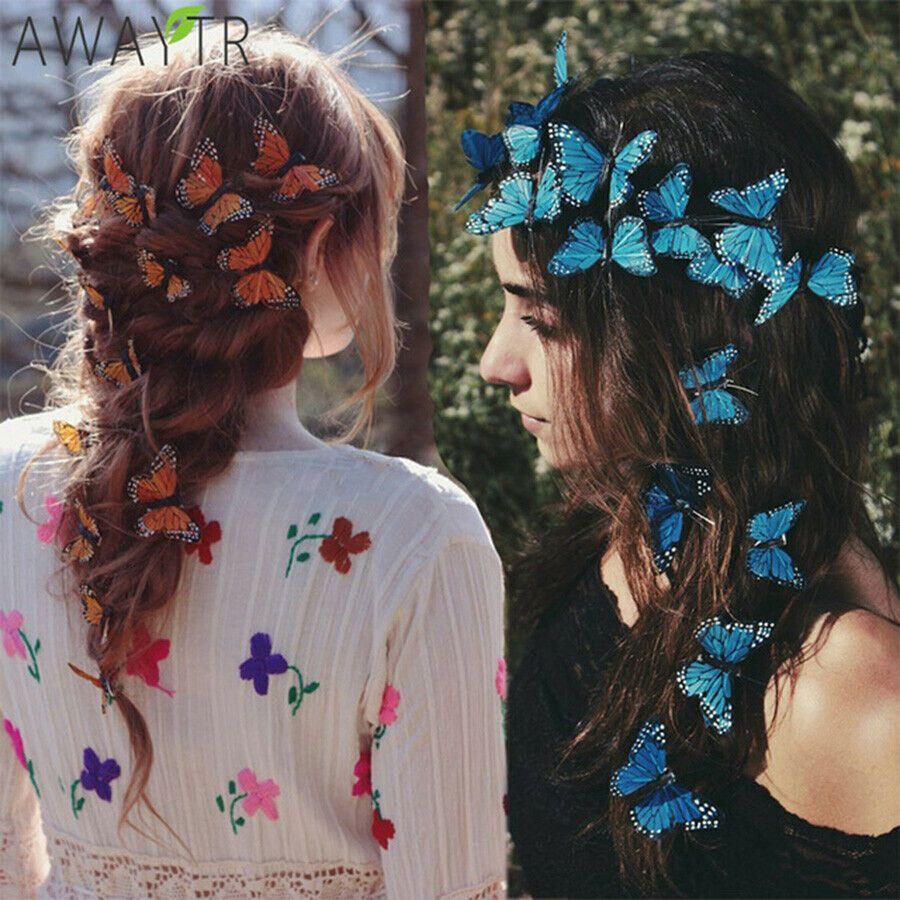 Hair Clip Butterfly Barrette Hairband Pin Hairpin Headdress Fairy Girl Wedding