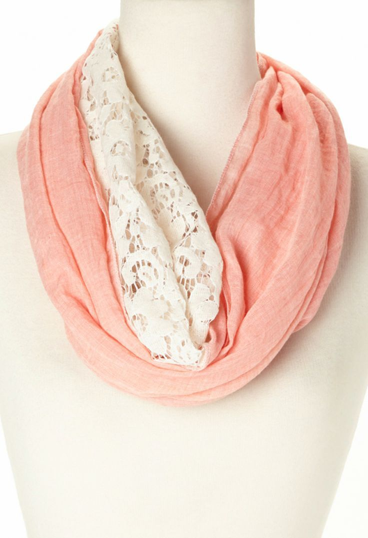 Coral and white lacy infinity scarf