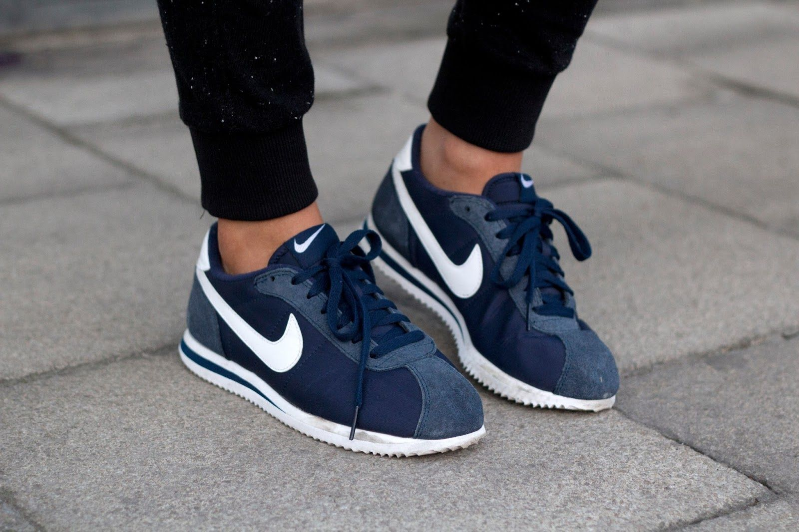 Fitness Women's Clothes - navy blue Nike Cortez Im in love with these shoes  !