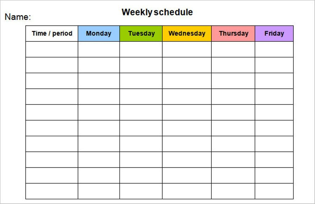 Weekly Calendar Template Monday to Friday #weeklyplanner #calendars