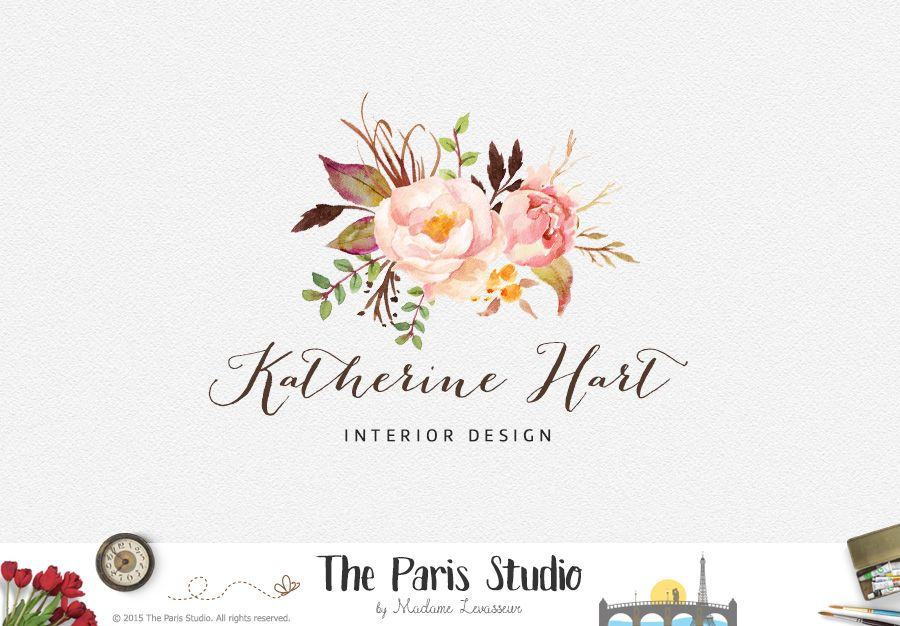 Floral Bouquet Logo Design - photography logo, website logo, boutique logo, creative business branding or small business logo.