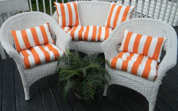 Indoor Outdoor Wicker Cushion And Pillow 7 Pc Set Orange And