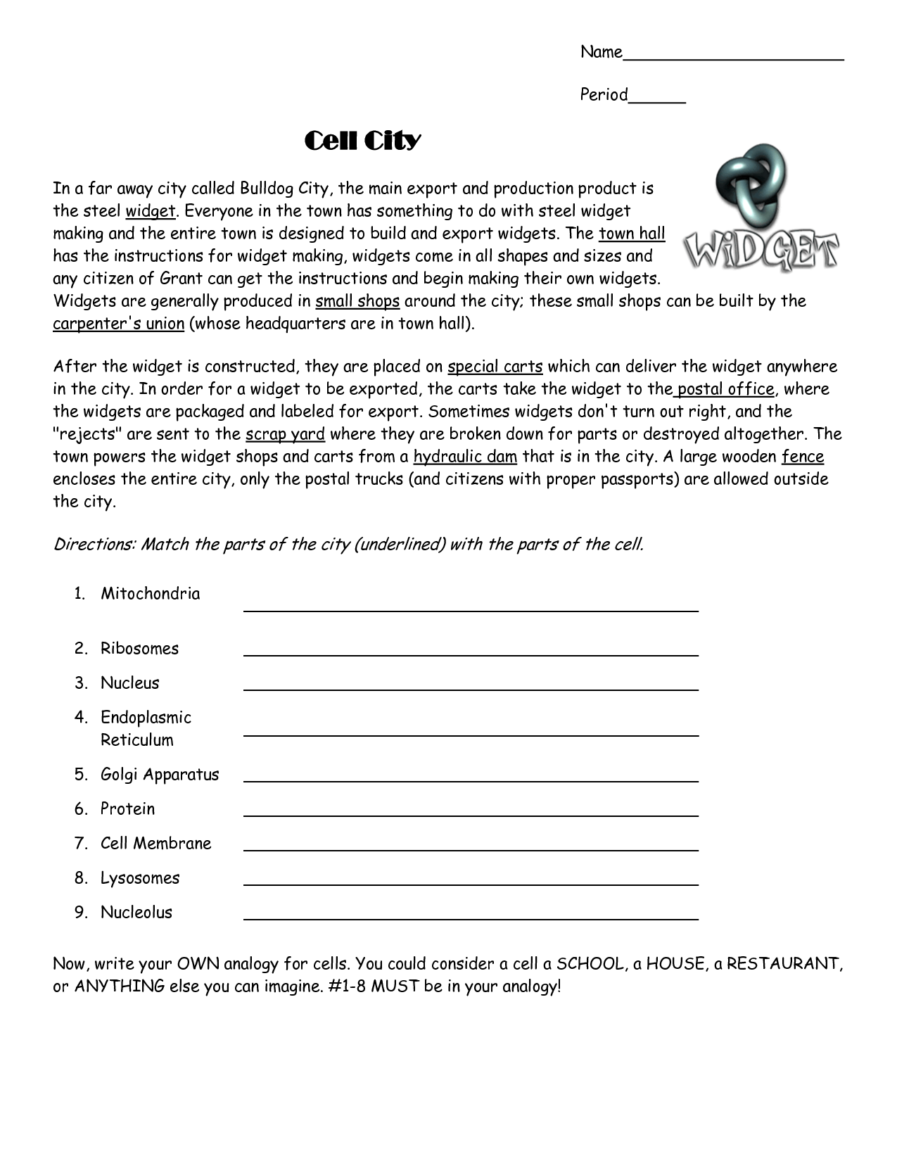Cell City Analogy Worksheet Pixelpaperskin – Cell City Worksheet
