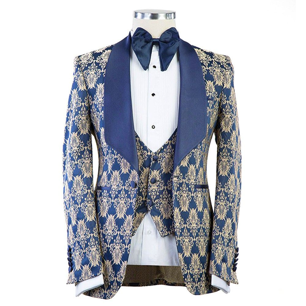 Wedding Tuxedo Suits Designer Dark Blue With Skin Color Single Button Blazer With Plain Dark Blue Lapel An Bespoke Shirts Custom Tailored Shirts Blazer Designs