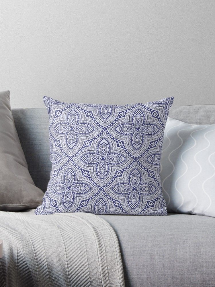 Blue boho chic Throw Pillows