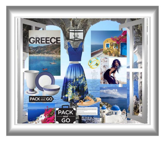 """greece"" by ilenia-aretusi ❤ liked on Polyvore featuring Chicwish, Elina Lebessi, Avanessi, River Island, L'Objet, Williams-Sonoma, Miss Selfridge, Packandgo and greekislands"