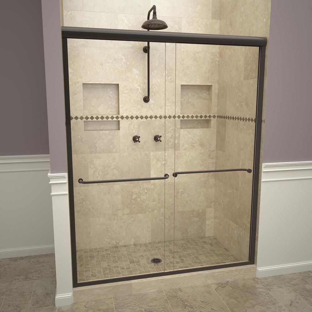 Redi Slide 2000v Series 48 In W X 71 1 4 In H Semi Frameless Sliding Shower Doors In Oil Rubbed Bronze With Towel Bar In 2020 Shower Doors Frameless Sliding Shower Doors Tile Redi