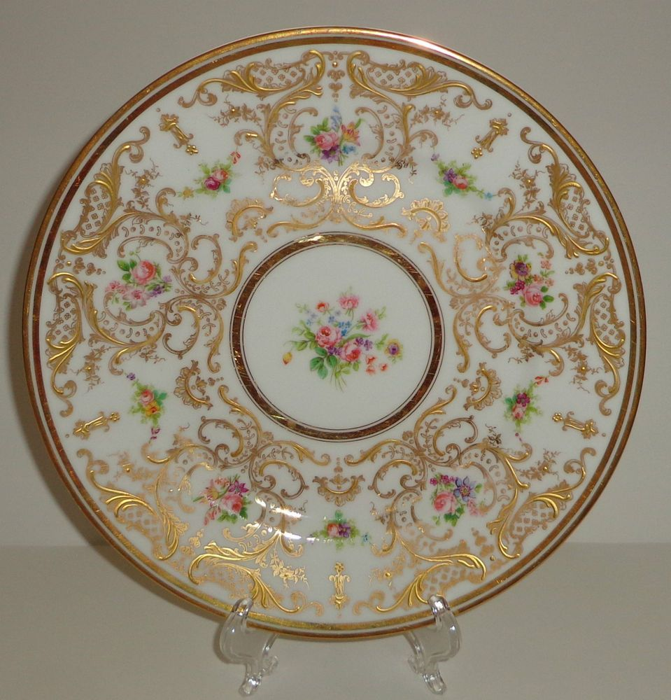Antique japanese tea table  ANTIQUE LIMOGES PORCELAIN PLATE HAND PAINTED GOLD GILT ROSES FRANCE
