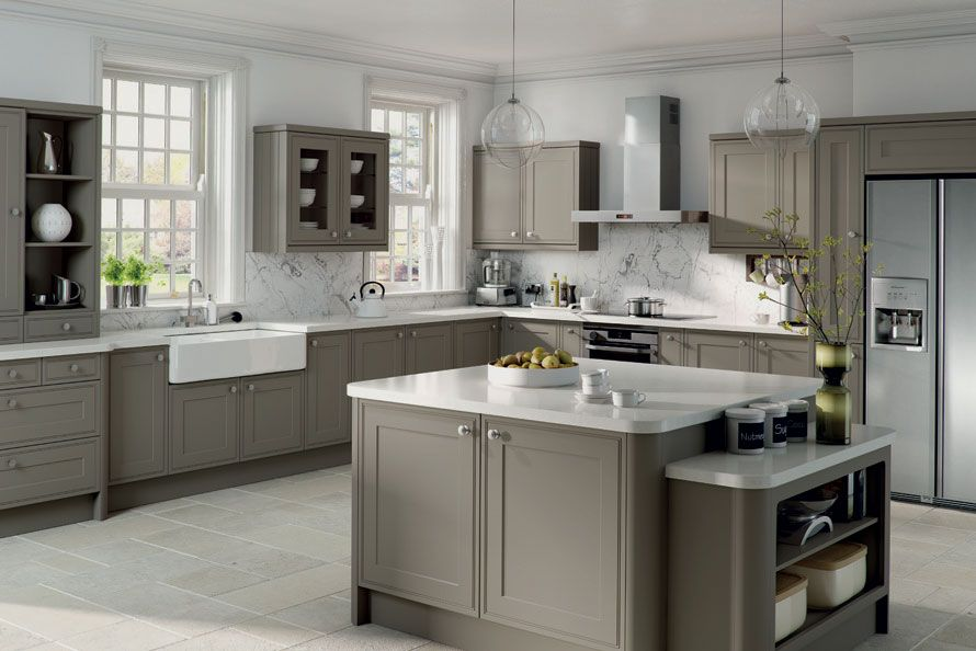 Amazing Grey Kitchen Ideas 25 glamorous gray kitchens tidbitstwine Tan Island With Gray Countertops Island Kitchen Plus White Countertop And Refrigerators Near The Grey