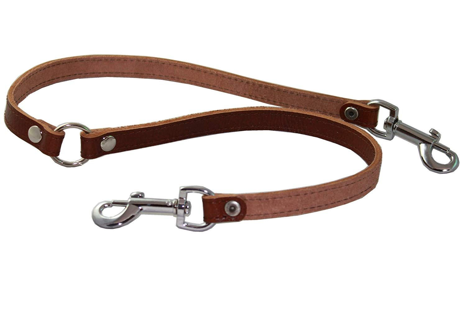 Genuine Leather Double Dog Leash Two Dog Coupler Brown Small 15 Long By 1 2 Wide Hope That You Actually Do Enj Dog Leash Genuine Leather Dog Collar