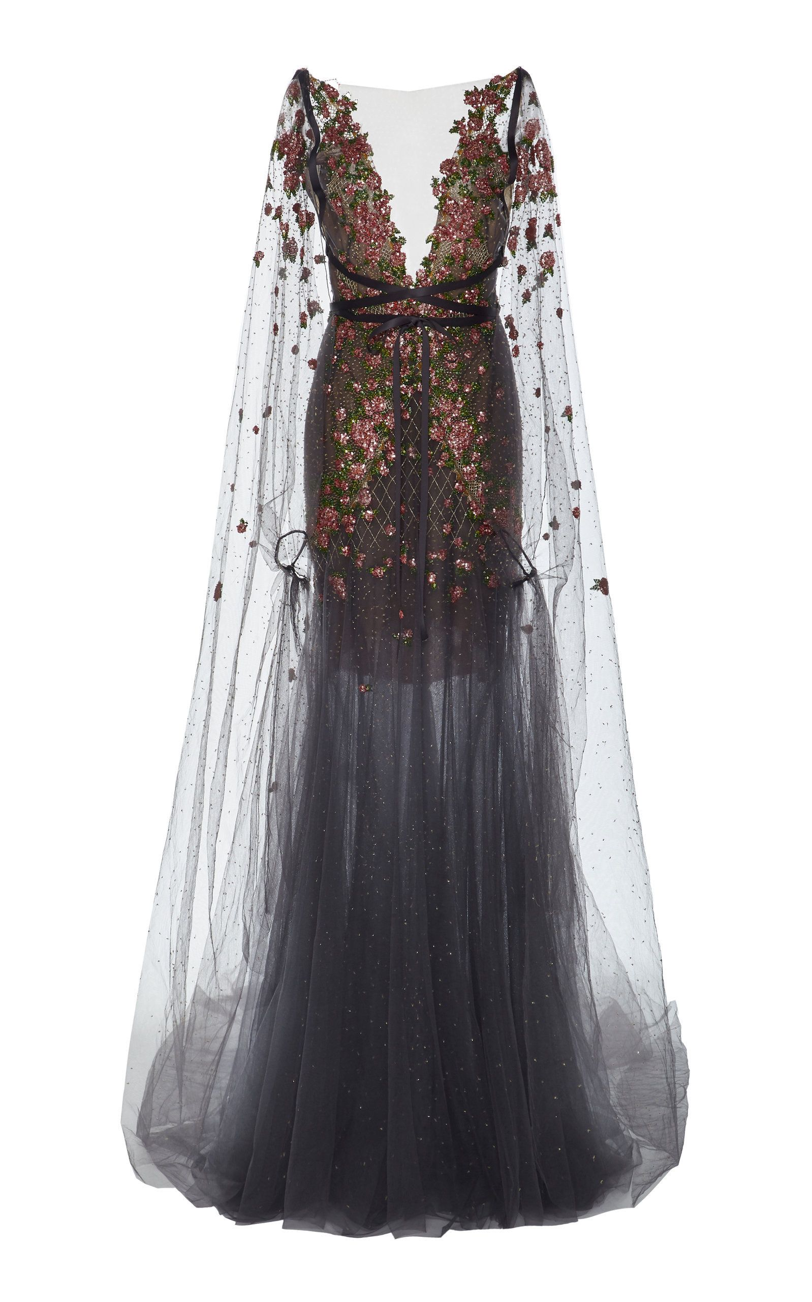 5f08d501bff MARCHESA EMBROIDERED TULLE GOWN WITH CAPE.  marchesa  cloth ...