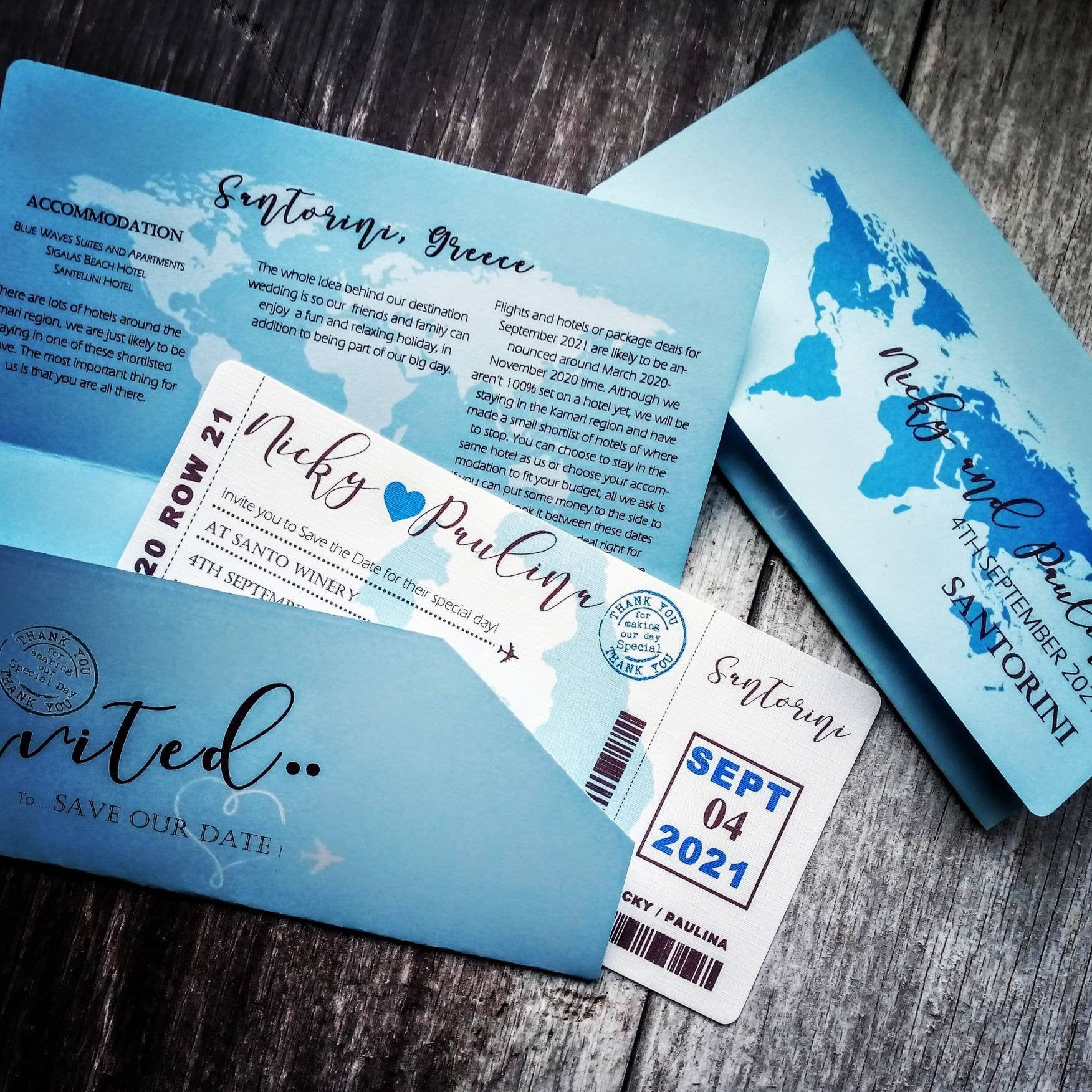 SAMPLE Boarding pass wedding invitation, destination