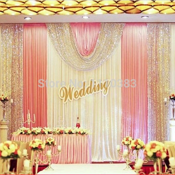 3m high x6m long white and pink sequin diy wedding stage party 3m high x6m long white and pink sequin diy wedding stage party backdrop decoration drapes with junglespirit Choice Image