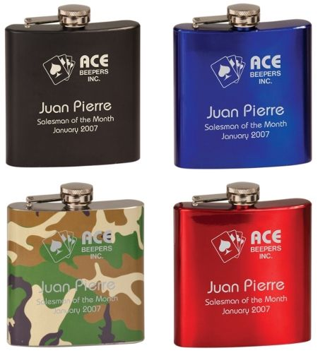 6 ounce Painted Personalized Flask. Choose from 4 colors (black, red, blue, camo). $20.95