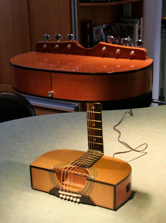 Acoustic guitar lamps by tonybruscatolamps on etsy 25000 acoustic guitar lamps and floor shelf aloadofball Image collections