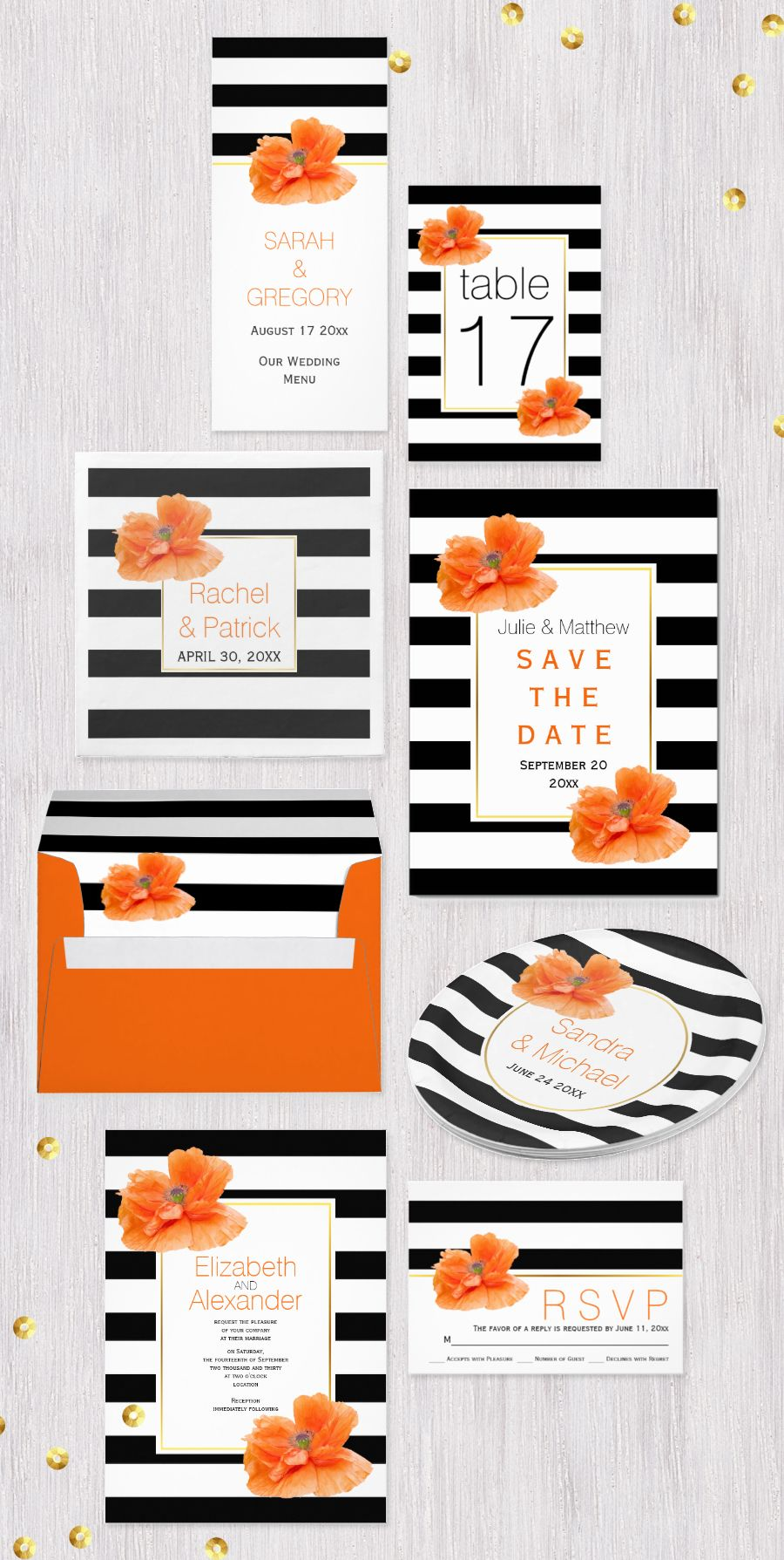 C Poppies And Black White Striped Pattern Wedding Invitations Collection Orange Stationery